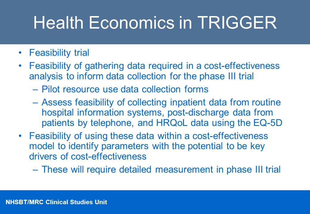 Health Economics in TRIGGER