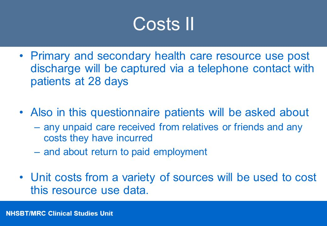 Costs II Primary and secondary health care resource use post discharge will be captured via a telephone contact with patients at 28 days.