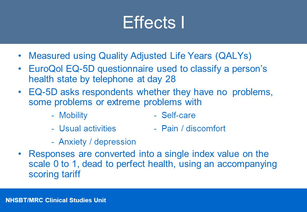 Effects I Measured using Quality Adjusted Life Years (QALYs)