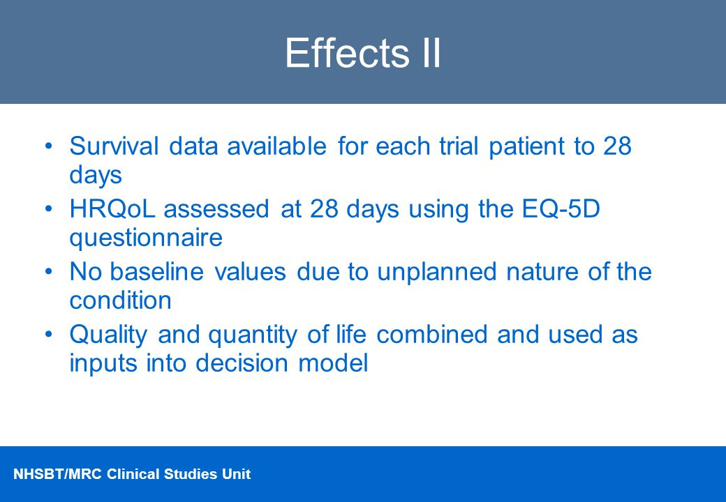 Effects II Survival data available for each trial patient to 28 days