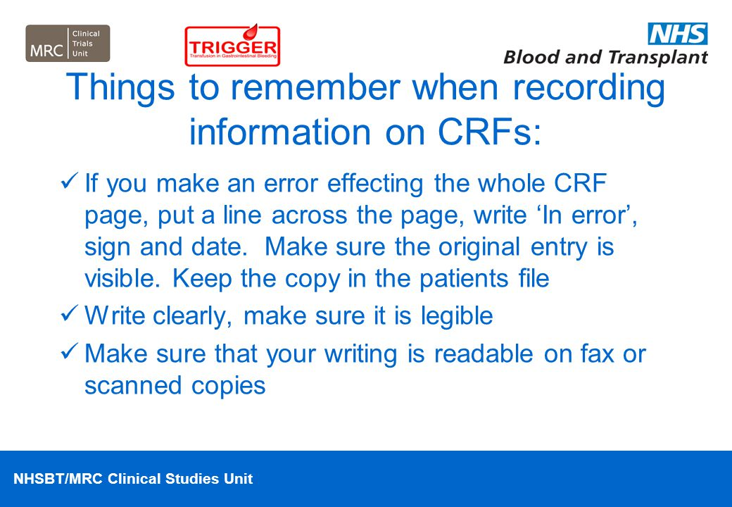 Things to remember when recording information on CRFs: