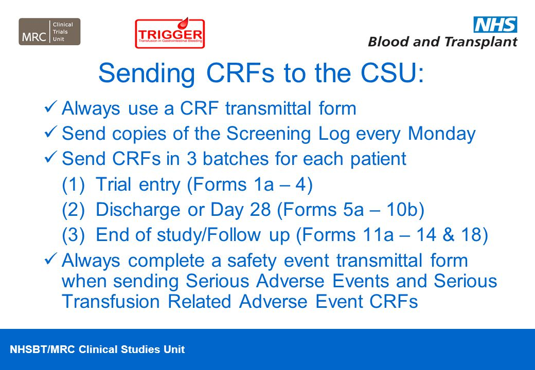 Sending CRFs to the CSU: