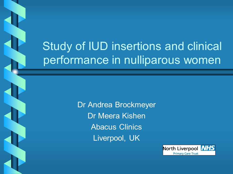 Study of IUD insertions and clinical performance in nulliparous women