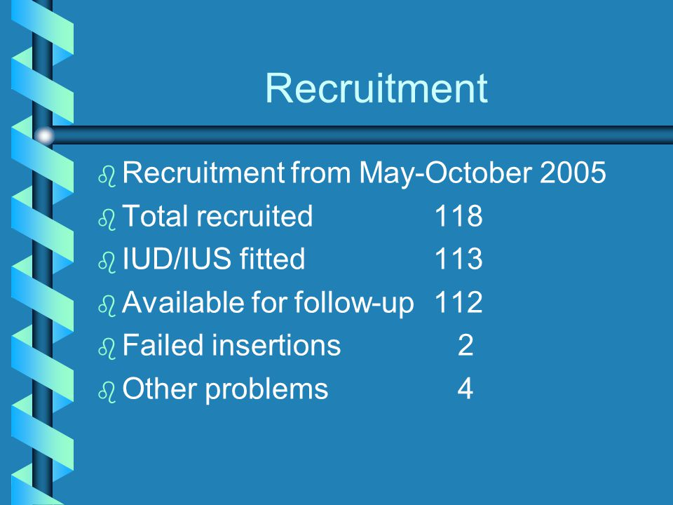 Recruitment Recruitment from May-October 2005 Total recruited 118