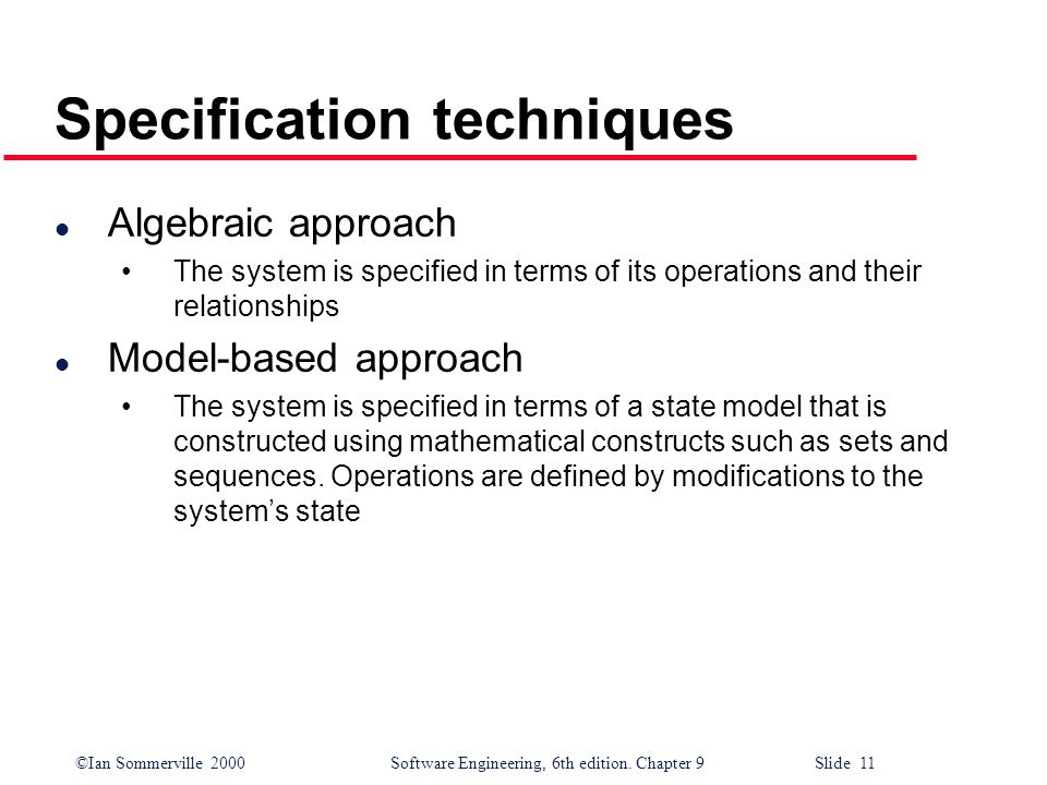 Specification techniques