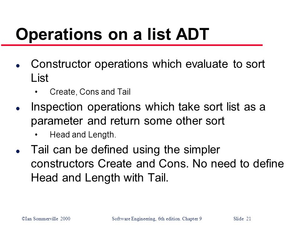 Operations on a list ADT
