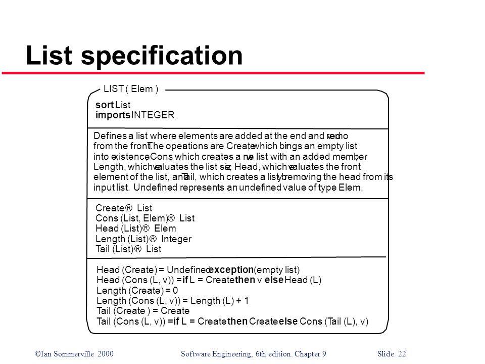 List specification LIST ( Elem ) sort List imports INTEGER