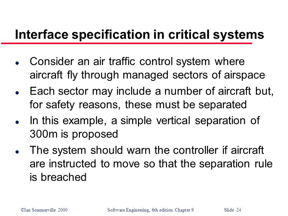 Interface specification in critical systems