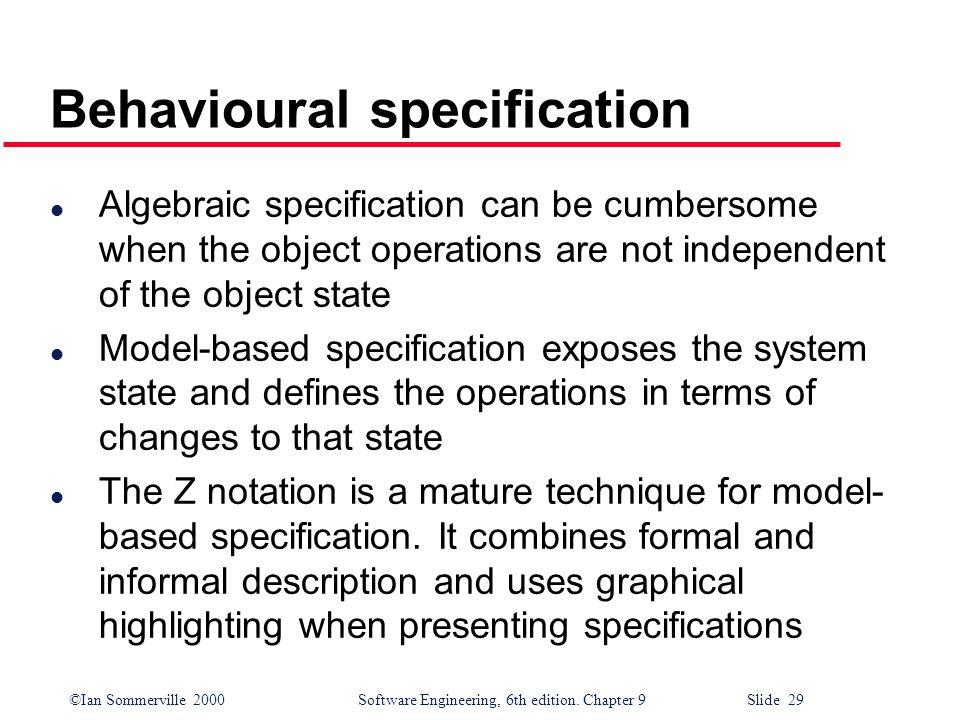 Behavioural specification