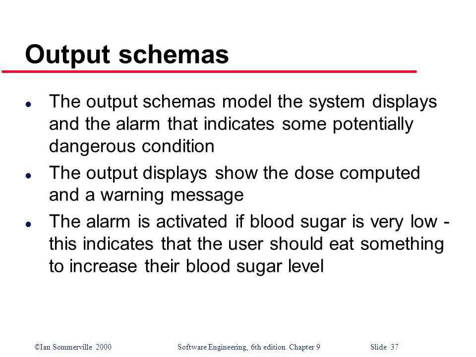 Output schemas The output schemas model the system displays and the alarm that indicates some potentially dangerous condition.
