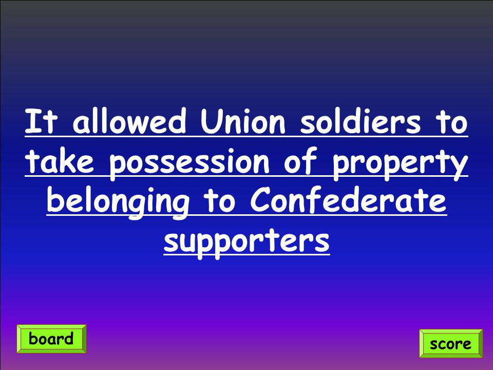 It allowed Union soldiers to take possession of property belonging to Confederate