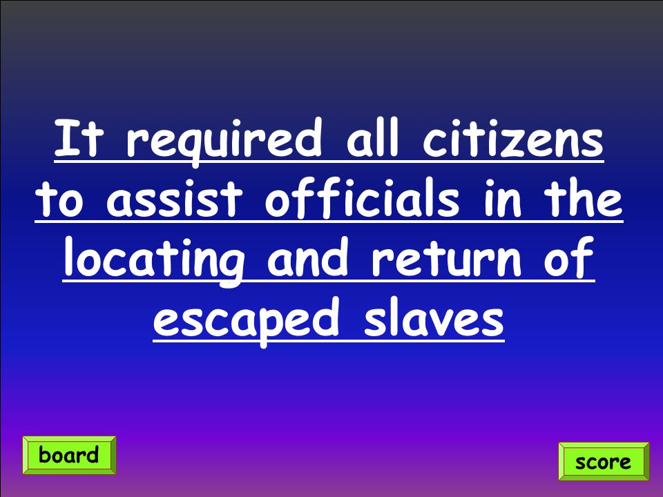 It required all citizens to assist officials in the locating and return of escaped slaves