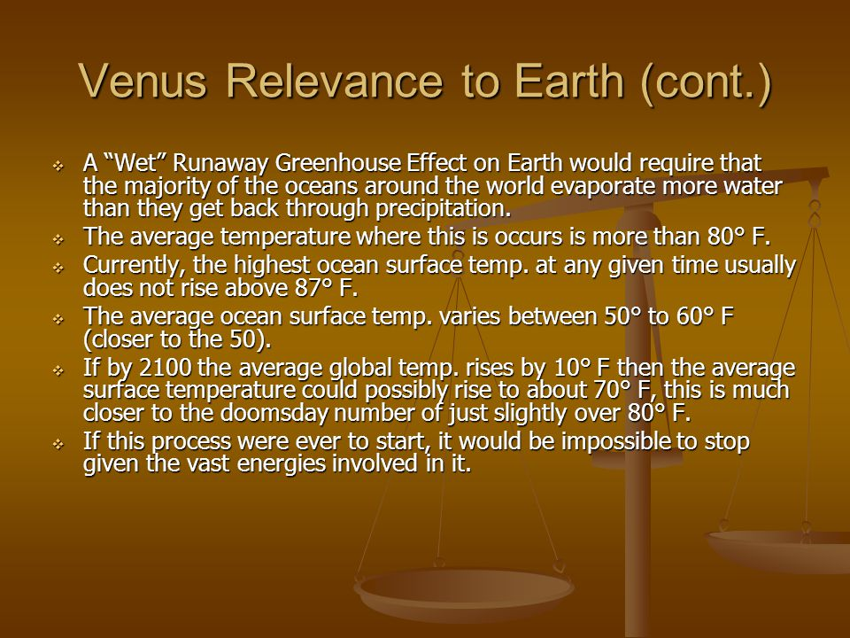 Venus Relevance to Earth (cont.)