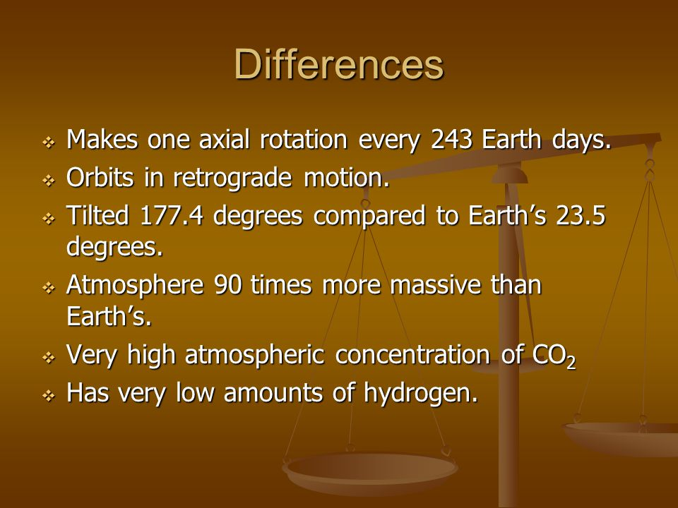 Differences Makes one axial rotation every 243 Earth days.
