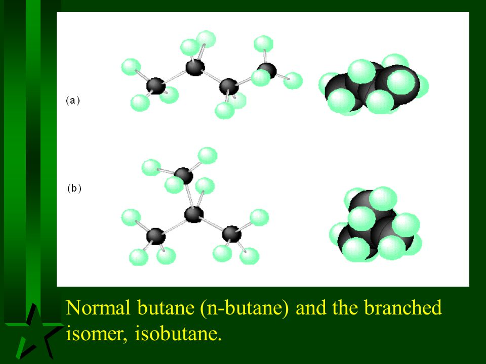 Normal butane (n-butane) and the branched