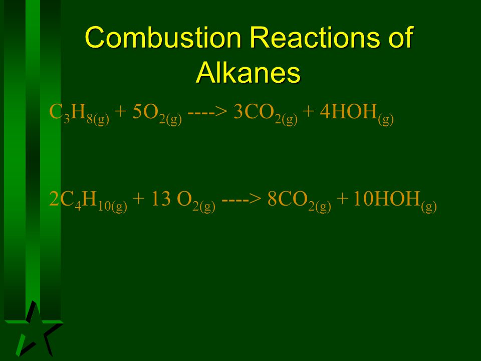 Combustion Reactions of Alkanes