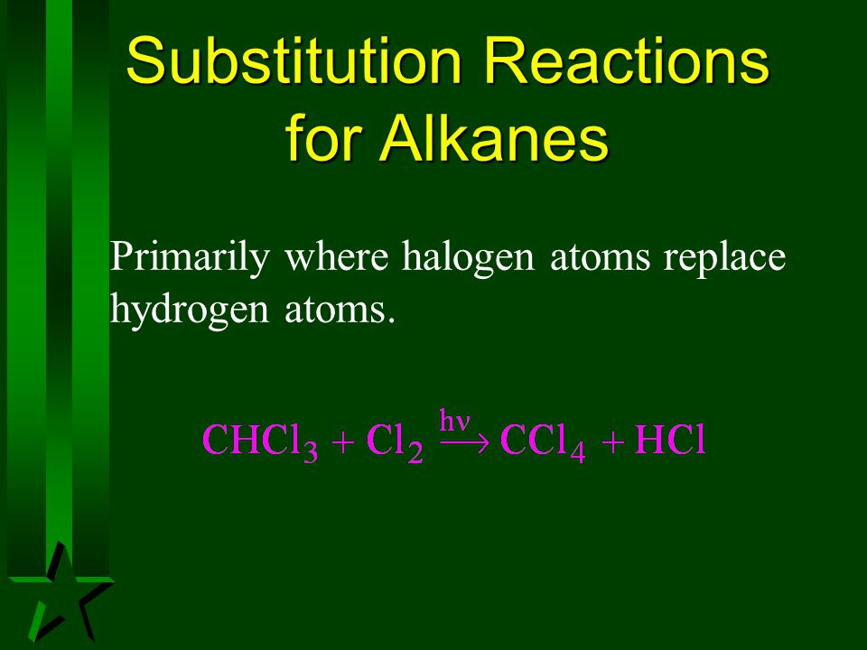 Substitution Reactions for Alkanes