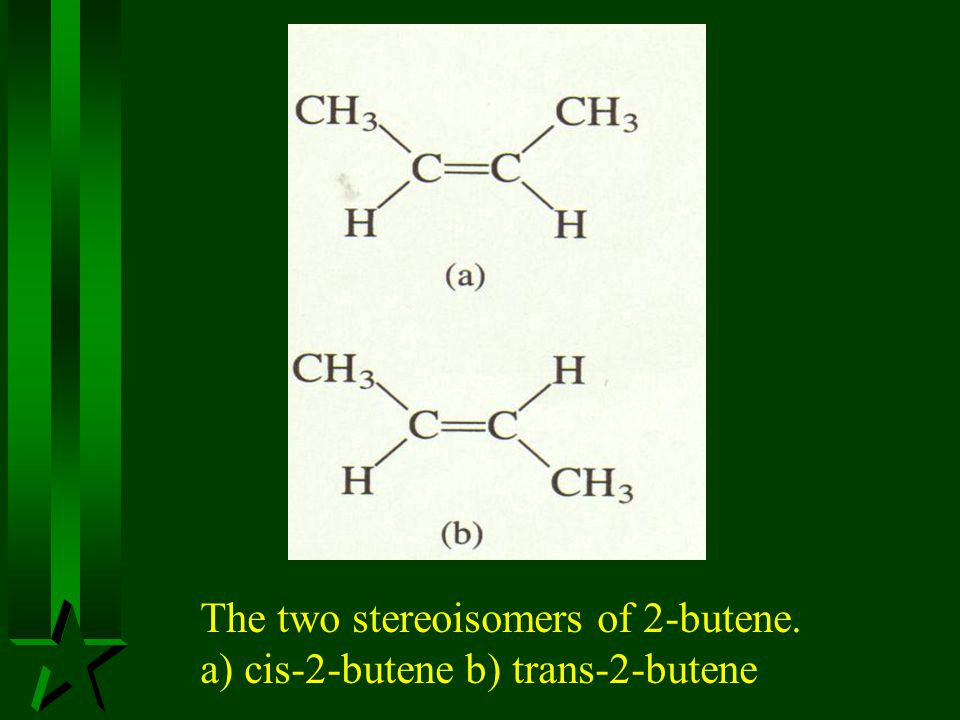 The two stereoisomers of 2-butene.