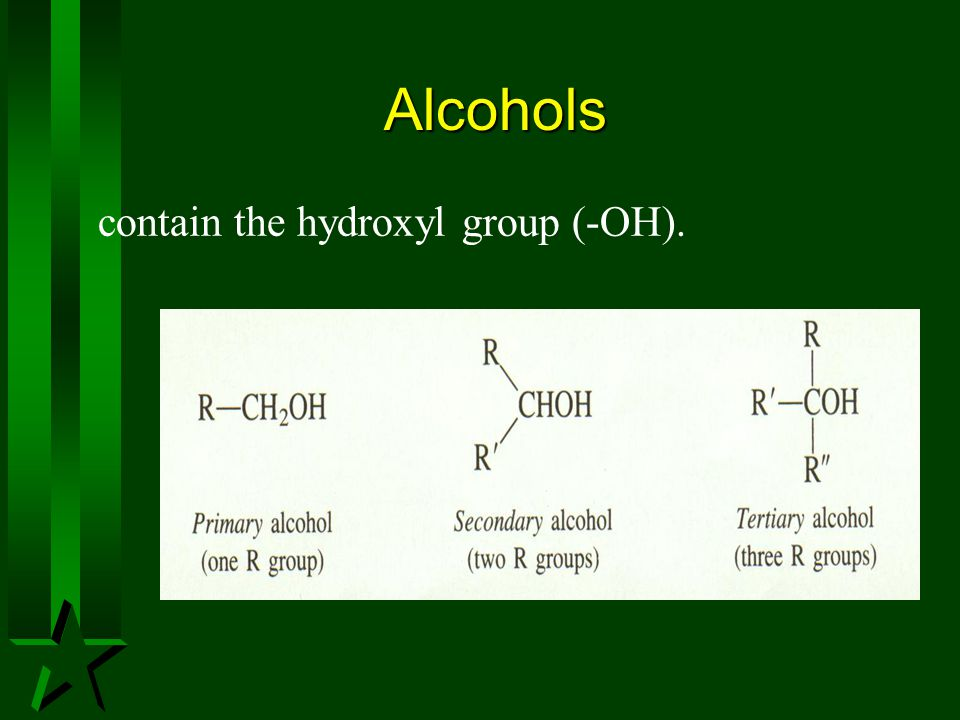 Alcohols contain the hydroxyl group (-OH).