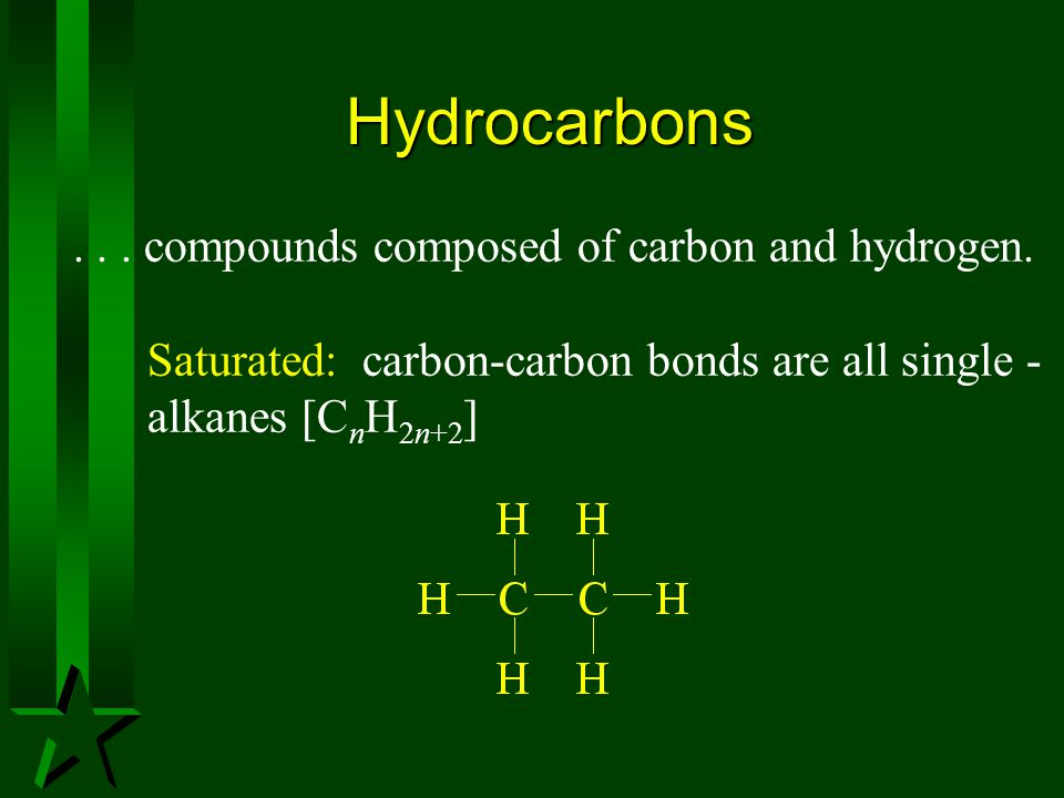 Hydrocarbons . . . compounds composed of carbon and hydrogen.