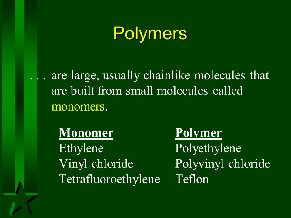 Polymers . . . are large, usually chainlike molecules that are built from small molecules called monomers.