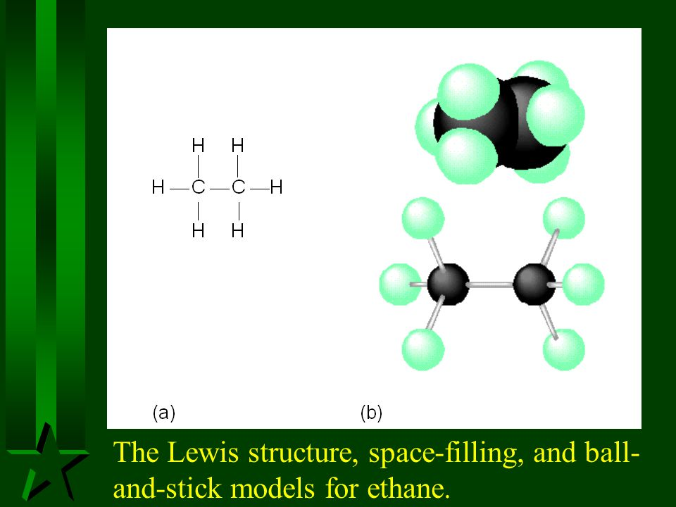 The Lewis structure, space-filling, and ball-