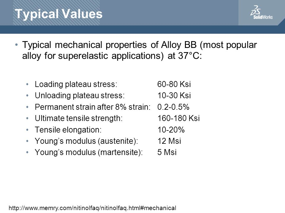 Typical Values Typical mechanical properties of Alloy BB (most popular alloy for superelastic applications) at 37°C: