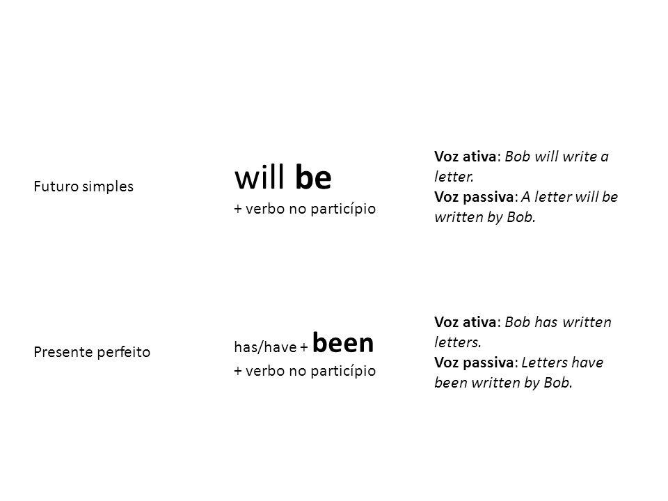 will be Voz ativa: Bob will write a letter. Futuro simples