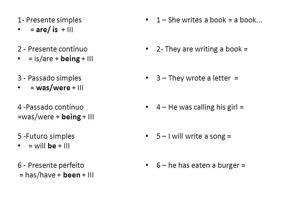 1- Presente simples 1 – She writes a book = a book... = are/ is + III. 2 - Presente contínuo. 2- They are writing a book =