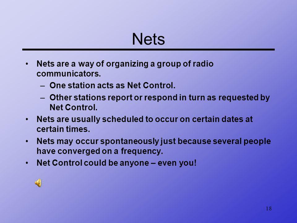 Nets Nets are a way of organizing a group of radio communicators.