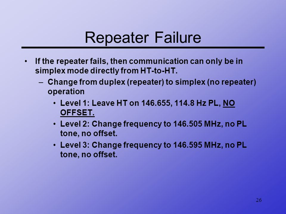 Repeater Failure If the repeater fails, then communication can only be in simplex mode directly from HT-to-HT.