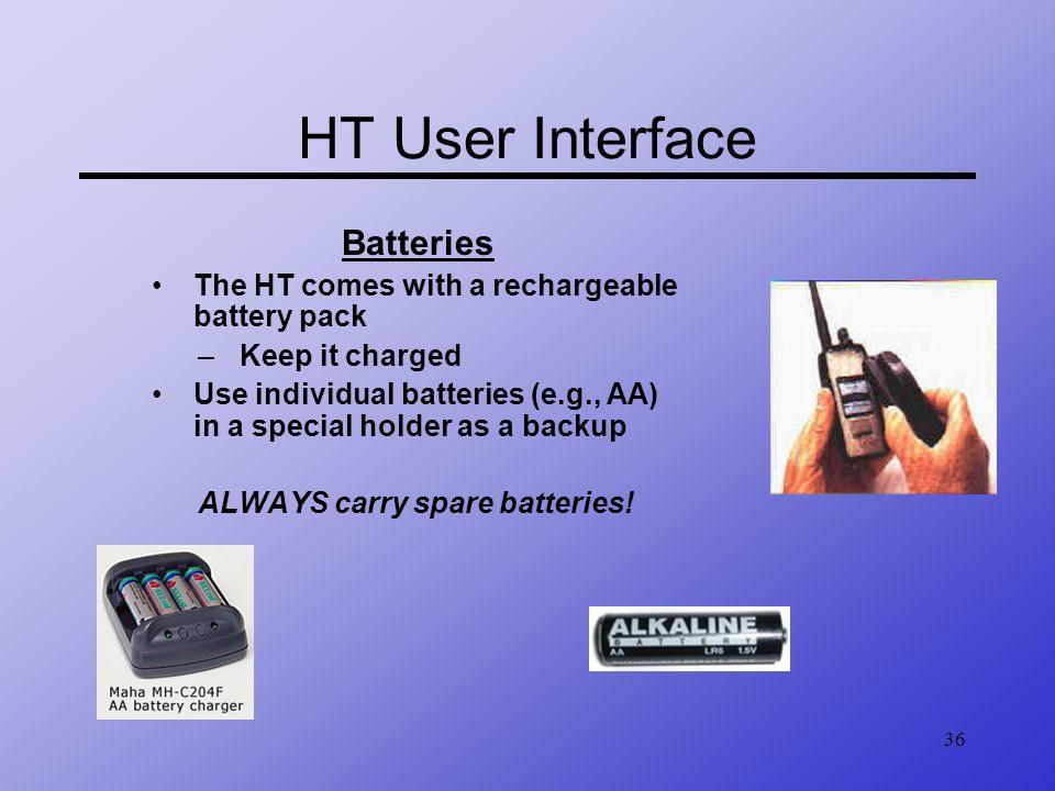 HT User Interface Batteries