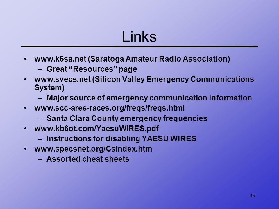 Links www.k6sa.net (Saratoga Amateur Radio Association)