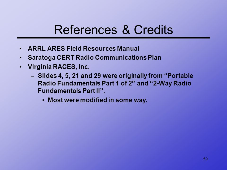 References & Credits ARRL ARES Field Resources Manual