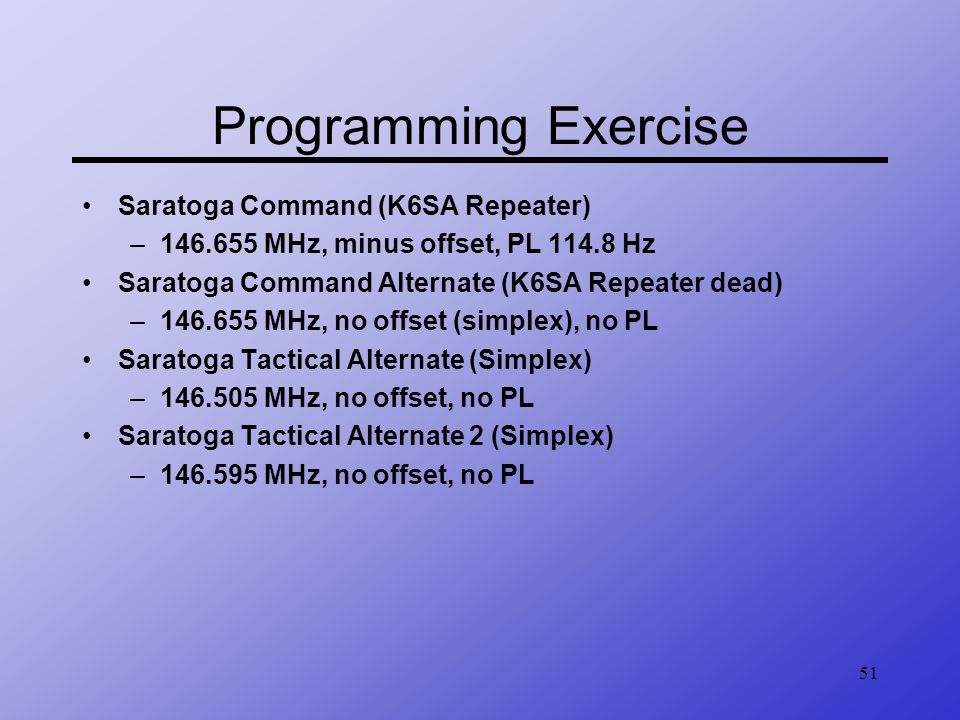 Programming Exercise Saratoga Command (K6SA Repeater)