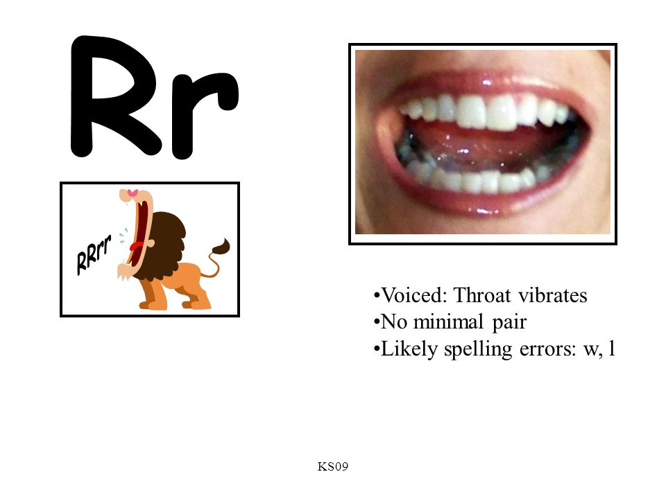 Rr RRrr Voiced: Throat vibrates No minimal pair