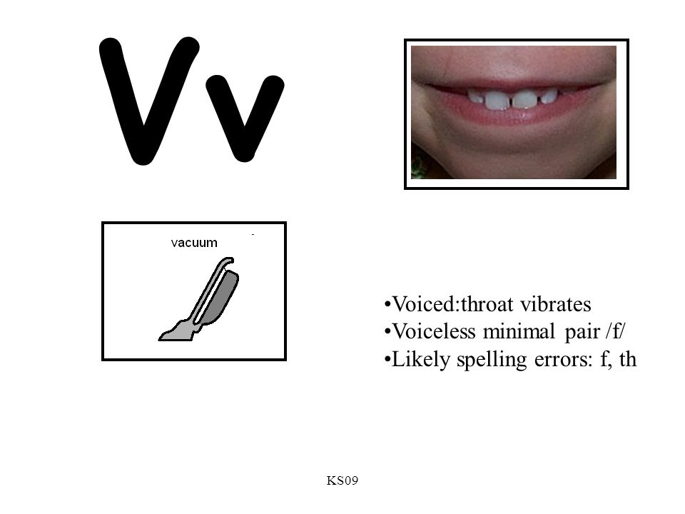 Vv Voiced:throat vibrates Voiceless minimal pair /f/