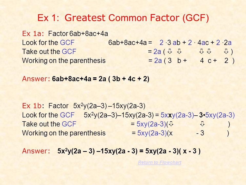 Ex 1: Greatest Common Factor (GCF)