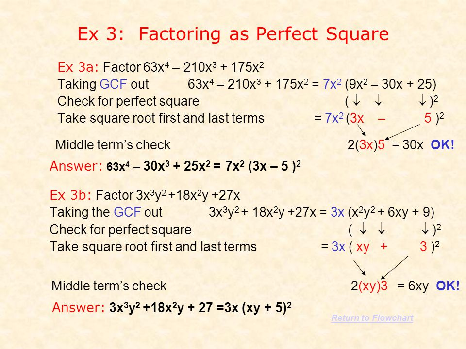 Ex 3: Factoring as Perfect Square