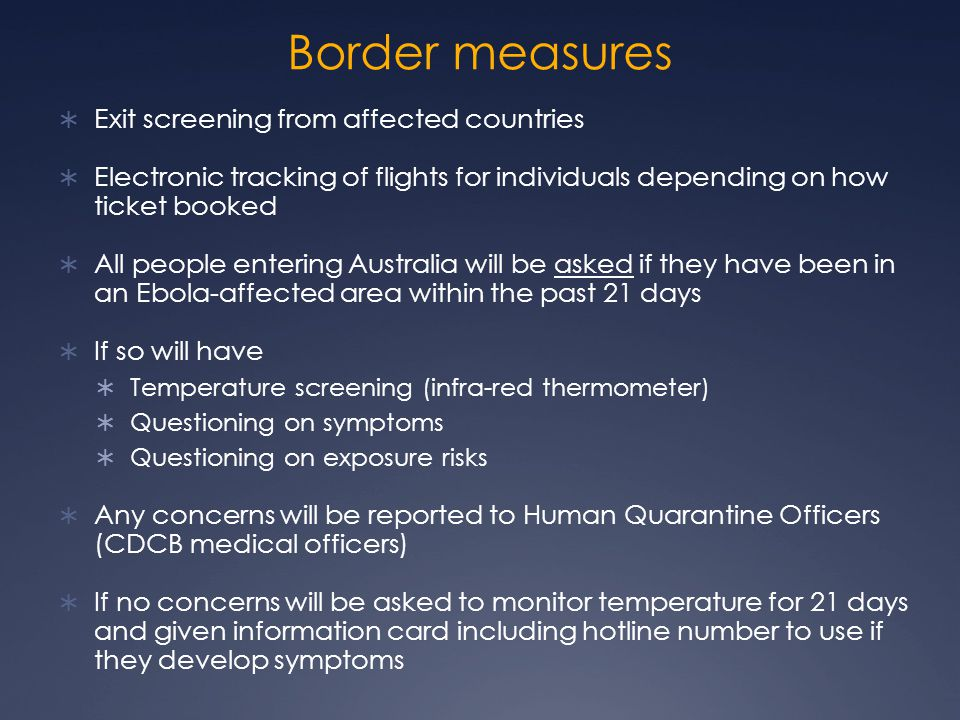 Border measures Exit screening from affected countries