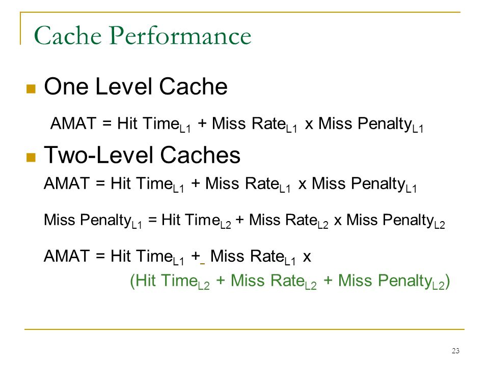 Cache Performance One Level Cache