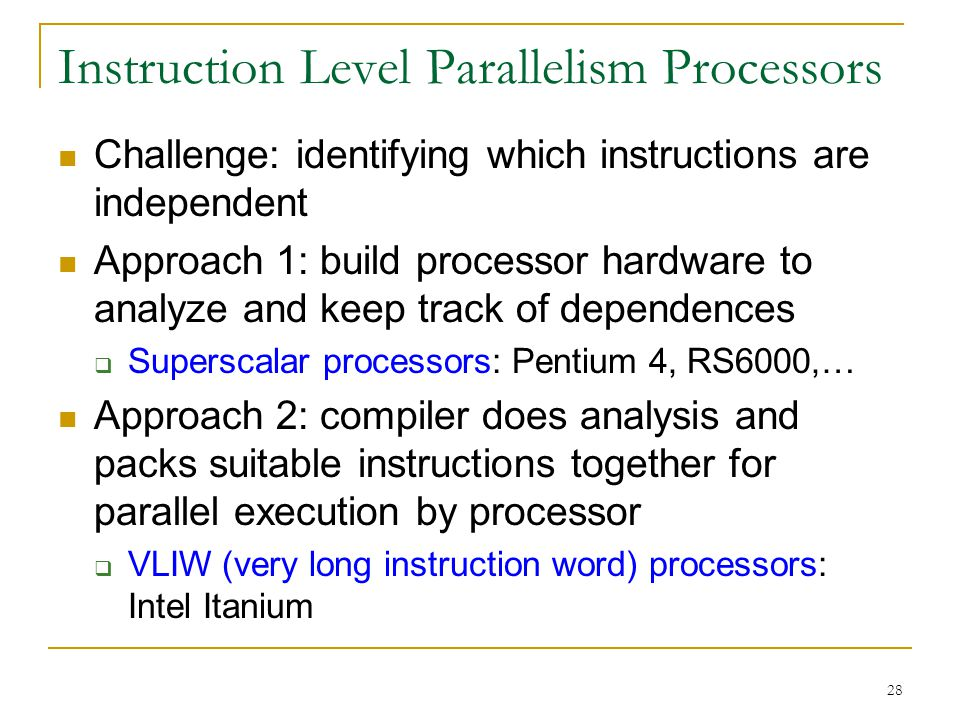 Instruction Level Parallelism Processors