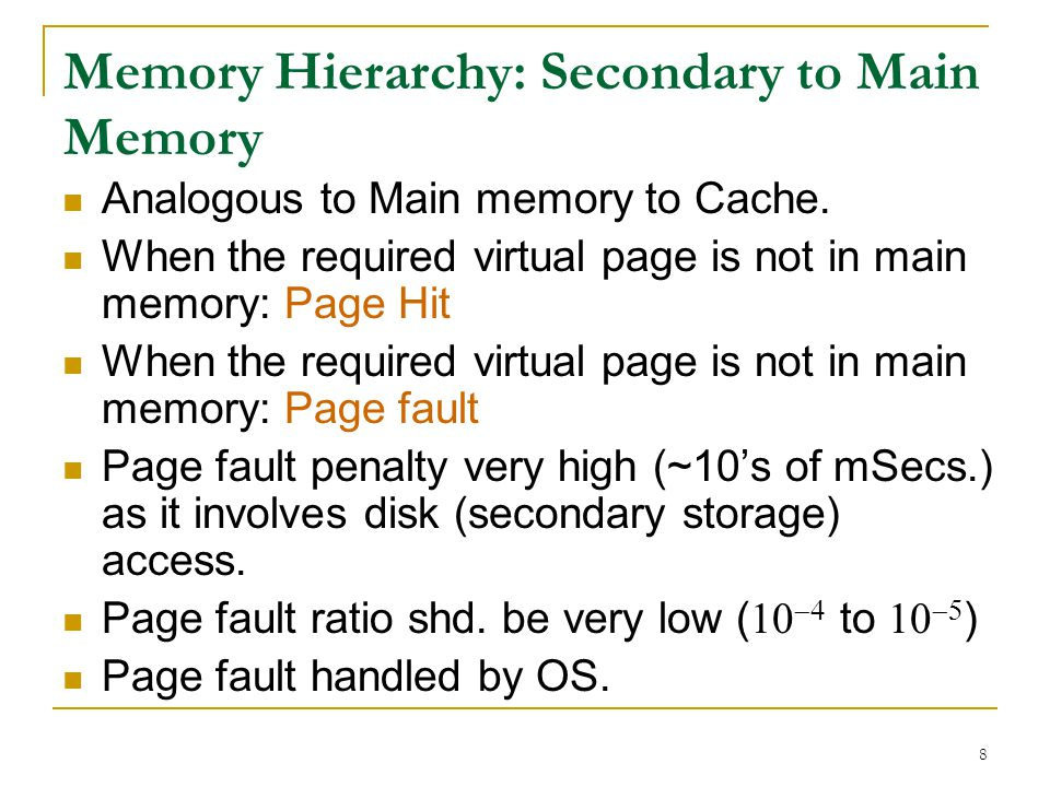 Memory Hierarchy: Secondary to Main Memory