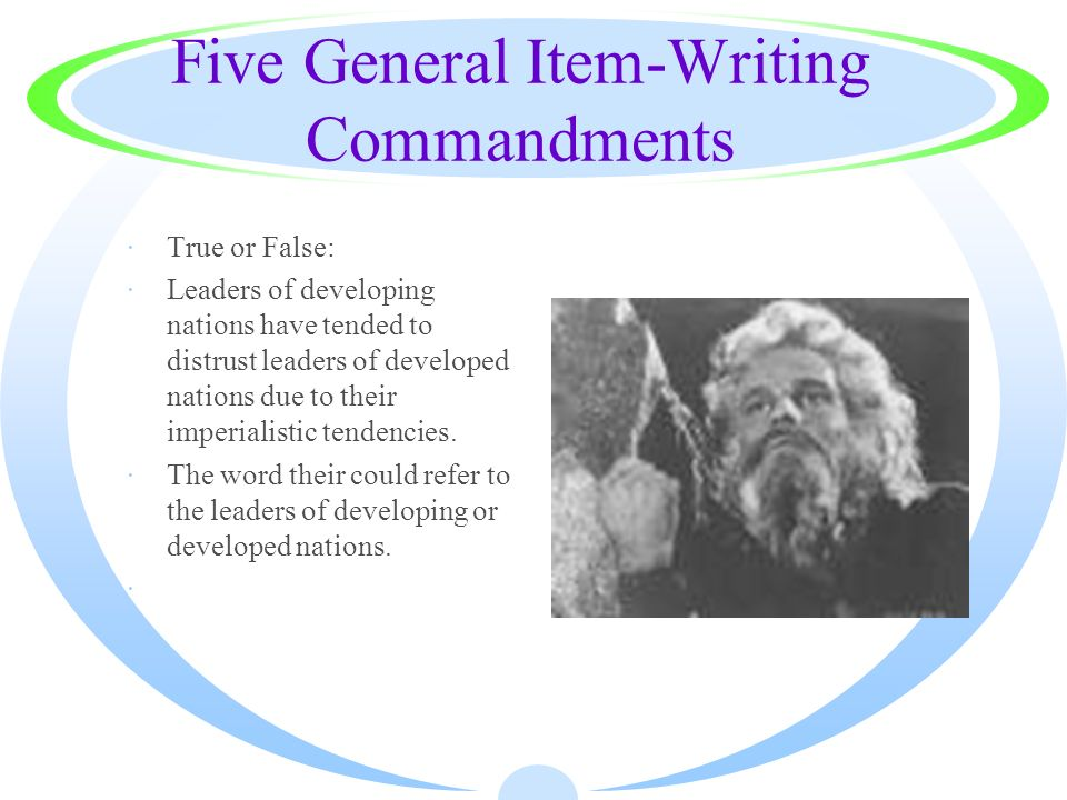 Five General Item-Writing Commandments