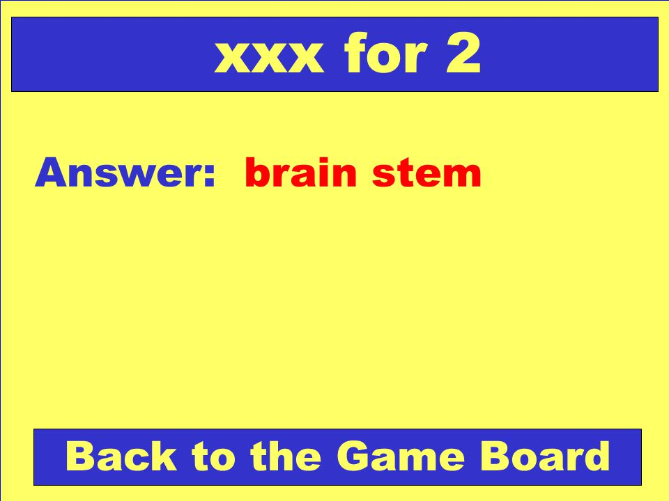 xxx for 2 Answer: brain stem Back to the Game Board