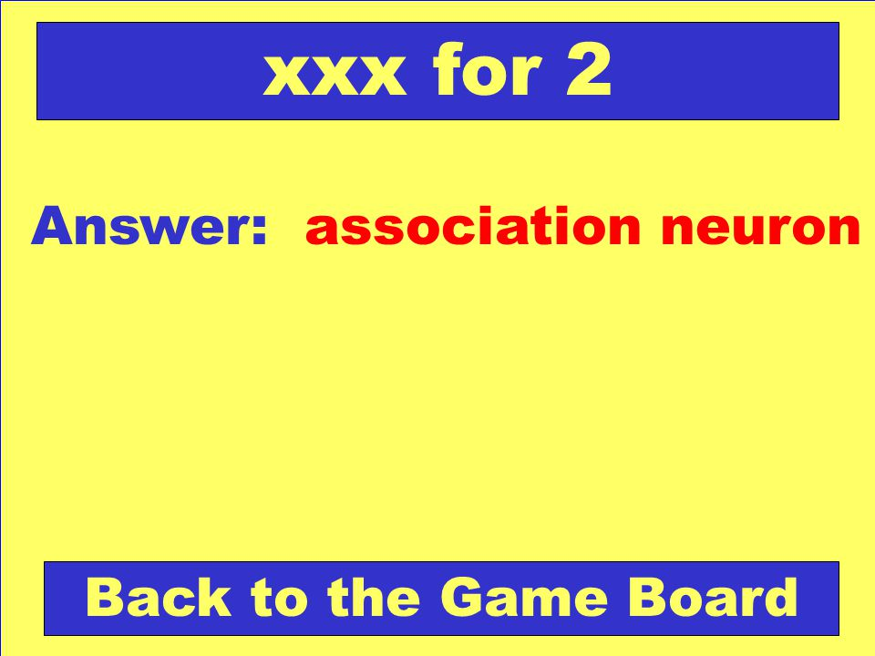 xxx for 2 Answer: association neuron Back to the Game Board
