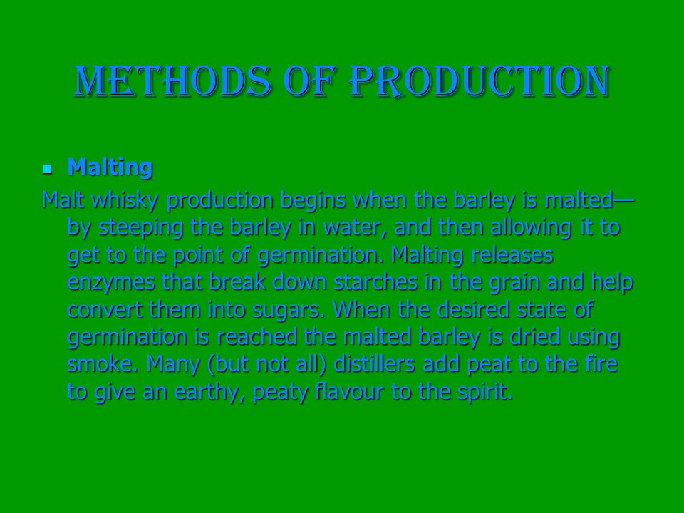 METHODS OF PRODUCTION Malting