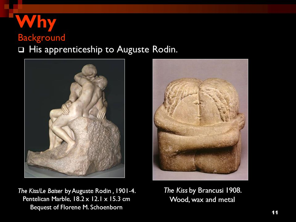 Why Background His apprenticeship to Auguste Rodin.