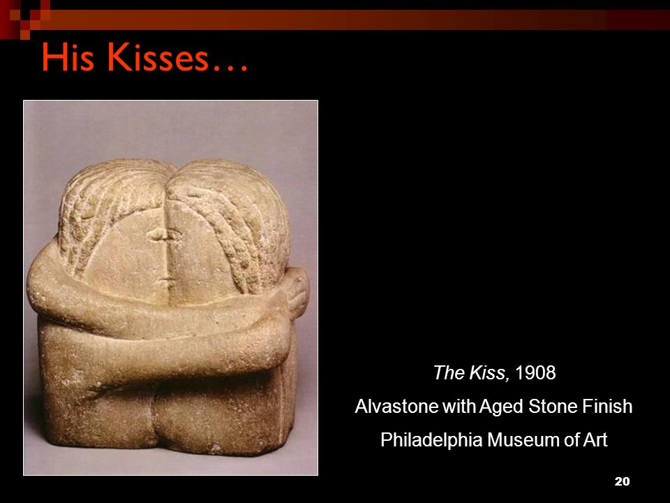 His Kisses… The Kiss, 1908 Alvastone with Aged Stone Finish