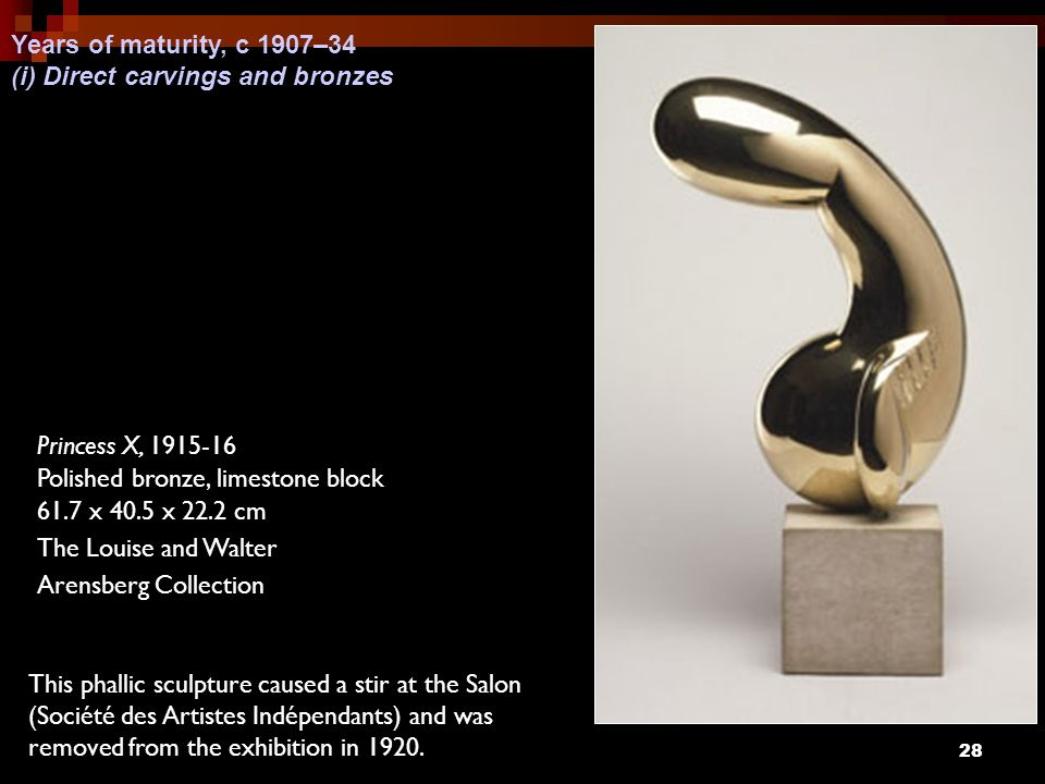 Years of maturity, c 1907–34 (i) Direct carvings and bronzes. Princess X, 1915-16. Polished bronze, limestone block.